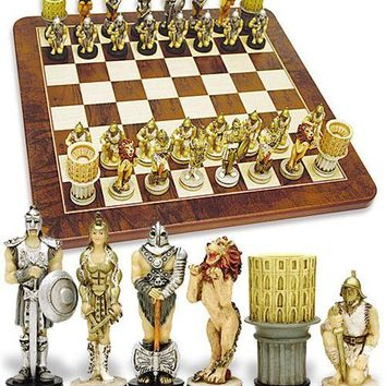 Roman Gladiator Lion Coliseum Chess Set 3.5H