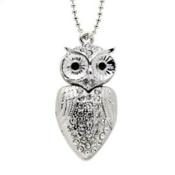 D-CLICK TM High Quality 8GB/16GB/32GB/64GB/ Fashion Jewelry Bling Shiny Crystal Diamond pendant USB High speed Flash Memory Stick Pen Drive Disk Necklace (8GB, Silver Owl)