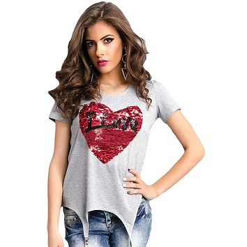 Stunning Sequined Heart Gray Garter T-shirt