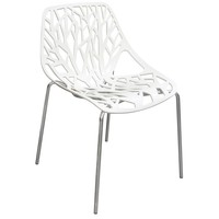 Pepper 4-Pack Accent Chairs in White Laser Cut Polypropylene (PP) w/ Chrome Leg