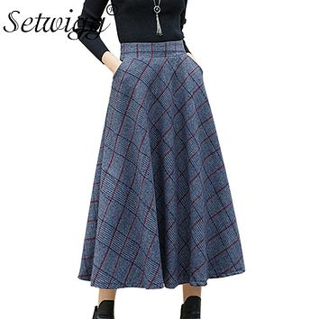 SETWIGG England Tone Winter Wool Blend Retro Plaid Long Flared Skirt Stretch Waist Pockets Woolen A-line Calf Long Autumn Skirts
