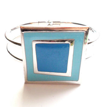 Vintage Geometric Hinged Bangle Blue Squares Silver Tone Metal 1990s Style Clamper
