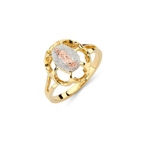 14K Tricolor Our Lady of Guadalupe Ring, Religious Jewelry, Gold Guadalupe, Guadalupe, Guadalupe Ring, Religious Ring, Gold Ring