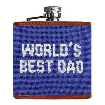 World's Best Dad Needlepoint Flask in Royal by Smathers & Branson
