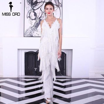 PEAPGC3 Free Shipping  2017 Sexy sleeveless V-NECK  halter lace tassel jumpsuits FT4661