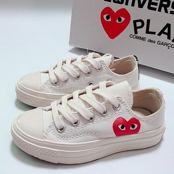Converse x CdG Play Girls Boys Children Baby Toddler Kids Child Fashion Casual Sneakers Sport Shoes