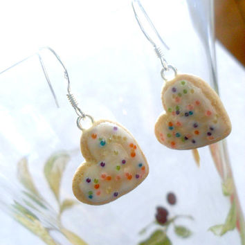 Frosted Heart Sugar Cookie Earrings, Cute :D Choice of Sterling Silver Hooks!