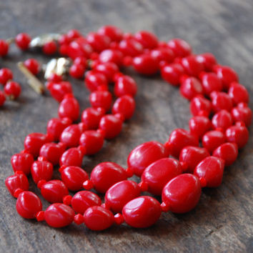 Vintage West Germany Necklace Graduated Three Strand Red Plastic and Glass Beads Adjustable Length 1950's // Vintage Costume Jewelry
