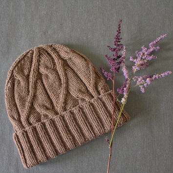 Cable knit hat in Brown, Wool cashmere,  Knit beanie, One size fits all, Cuff hat, Gift for women, Gift for men, Mens hats, Womens hats