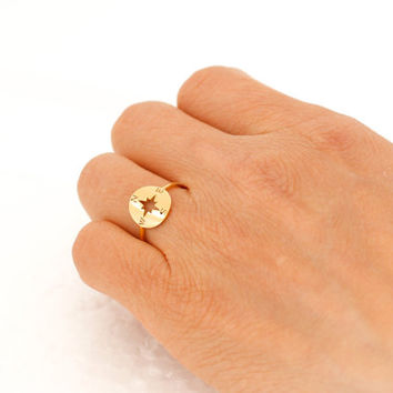 Compass Ring. friendship,mom,sister,wife,bridesmaid gift.choose your color, gold and silver. no62