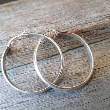Vintage Sterling Silver Hoop Earrings , Large Classic Ladies Silver Hoops , Gifts For Her