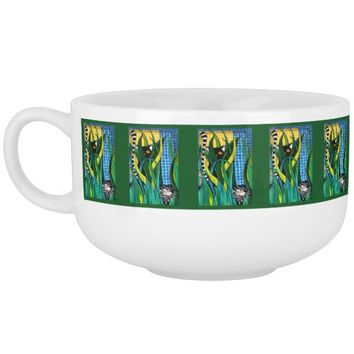 Hunter in Camouflage Whimsical Cat Art Soup Mug