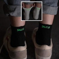Glow In The Dark Shut Up Unisex Socks