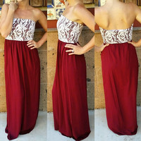 WHAT THE HEART WANTS LACE STRAPLESS MAXI DRESS IN WINE