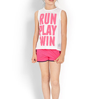 FOREVER 21 GIRLS Run Play Win Tank (Kids) White/Neon Pink
