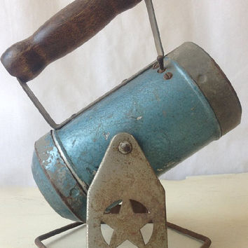 Vintage Star Headlight Railroad Lantern, Flashlight on Stand, Blue Hand Held Flood Light