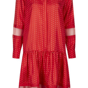 Silk Polka Dot Dress by Boutique - Red