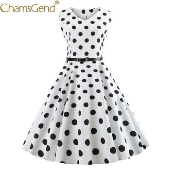 LL Lady's Classic Polka Dot Print Sleeveless Dress