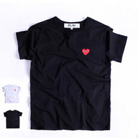 The new summer and fall 2016 small red heart sets round collar couples short sleeve T-shirt for men and women