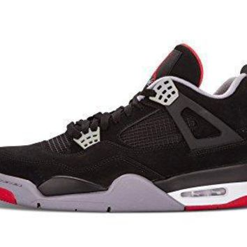 "Nike Mens Air Jordan 4 Retro ""Bred"" Black/Cement Grey-Fire Red Suede Basketball Shoes"