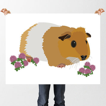 Nursery Art Guinea Pig Print, Cute Guineapig Wall Art, Instant Download, Pink Clover Flowers, New Baby Print, Printable Nursery Decor