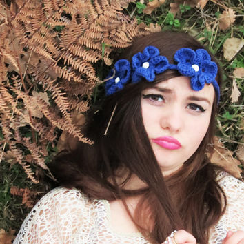 Crochet Flower Headband,  Woman Head Band, Fashion Woman Hair Accessory, Cute Head Band, Flower Bandana, Blue Flower Headband with pearls