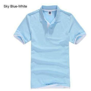 Sky Blue with White Men's/ Women's Polo Shirt XS-3XL