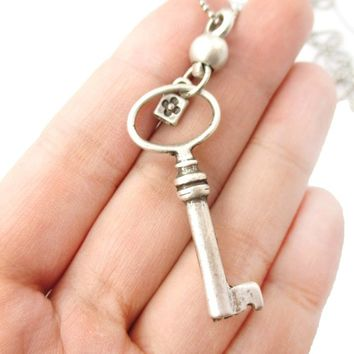 Classic Skeleton Key Pendant and Tiny Lock Charm Necklace in Silver | DOTOLY