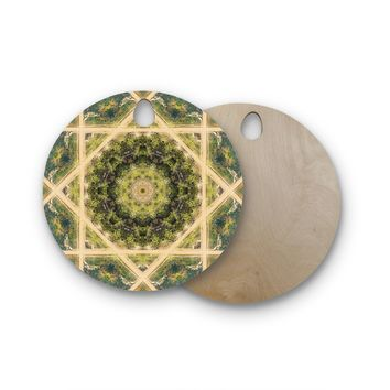 "Nick Nareshni ""Forest Green Mandala"" Green Teal Geometric Round Wooden Cutting Board"