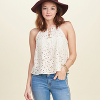 Lace-Up Eyelet Cami