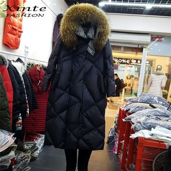 2016 New Winter Jacket Women Long Down Coat with Real Fur Trim Hooded Raccoon Fur Jackets Parkas Outwear Warm Top Quality