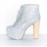 Cold Feet by Jeffrey Campbell 'Lita Emboss', Silver - Ashbury Skies