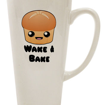 TooLoud Wake and Bake Cute Roll 16 Ounce Conical Latte Coffee Mug