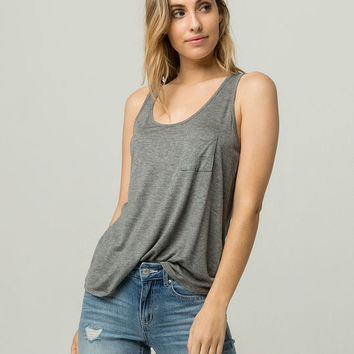 BOZZOLO Heather Grey Womens Pocket Tank