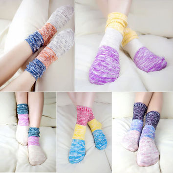 5 Pairs Colourful Knitting Cotton Socks