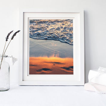 Beach print, sunset reflection on water, fine art photography, Lake Michigan, summer, sand, orange, blue wall art home decor, relaxing calm