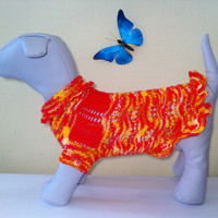 Knit Demi-Season Spring Summer Microfiber Dress for Dog. Handmade Knit Pet Summer Dress Size XL.