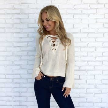 Coming Home Sweater Top in Ivory