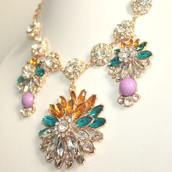 Jcrew Crystal Necklace,Luxury Party Necklace,Flower Gemstone Jewelry, Free Gift Box Packaging Available