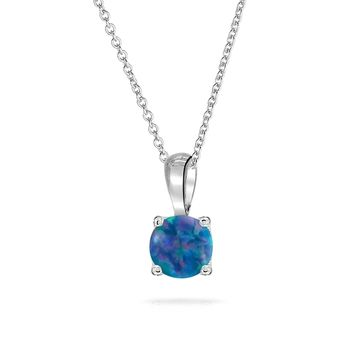 Solitaire Bezel Black Created Opal Pendant Necklace Sterling Silver