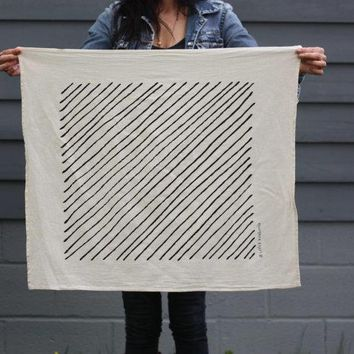 Diagonal Stripe Tea Towel   Screen Printed Organic Cotton Flour Sack Towel   Soft And Absorbent Dish Towel