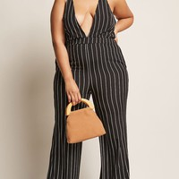 Plus Size Stripe Halter Jumpsuit