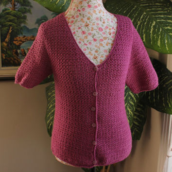 SALE 50% OFF/ Ready to be shipped/ Handmade Crochet Vneck /Cotton Cardigan- Shrug /Size S,M