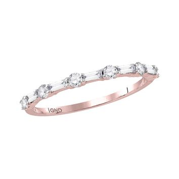 10kt Rose Gold Women's Round Baguette Diamond Stackable Band Ring 1/3 Cttw
