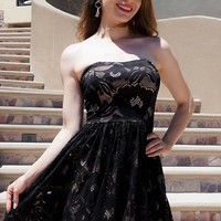 Own The Night Black Lace Strapless Skater Dress