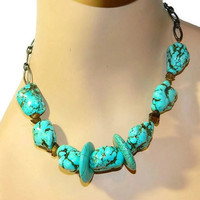 Turquoise Necklace, Statement Necklace, Short necklace, Beaded Chain, Bib Necklace