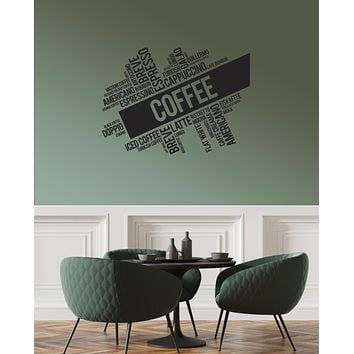 Vinyl Wall Decal Coffee House Words Cloud Kitchen Dining Room Interior Stickers Mural (ig5974)