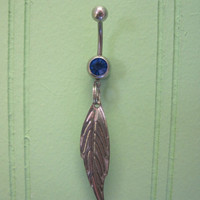 Belly Button Ring - Body Jewelry - Silver Feather with Dark Blue Gem Stone Belly Button Ring
