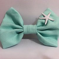 Aquamarine / Tiffany Blue Bow with a Real Painted & Preserved Starfish Hair Bow
