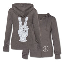 Peace Fingers Women's Eco Hoody: Soul-Flower Online Store
